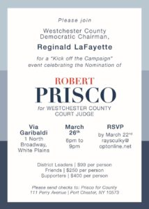 Prisco for County Court Judge Kick Off @ Via Garibaldi