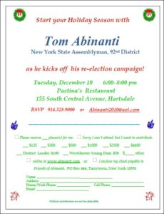 TOM ABINANTI RE-ELECTION CAMPAIGN KICKOFF @ PASTINAS RESTURANT